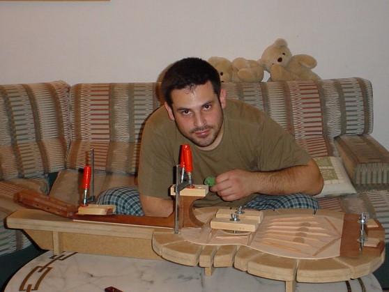 Building my very first guitar, Jerusalem, Israel, 2004