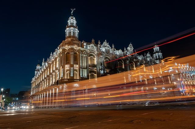 A passing bus creates light trails in front of the Gran Teatro de La Habana Alicia Alonzo. .  www.cubaphototravel.com Engage l Explore l Capture Follow: @cubaphototravel / Tag: #cubaphototravel . . . . . . . #Cuba #loves_cuba #havana #photographyislife #getlost #keepexploring #theglobewanderer #exploretheworld #neverstopexploring #travelstagram #letsgosomewhere #roamtheplanet #welltravelled #justbackfrom #chasinglight #openmyworld #bestvacations #travelstoke #travelphotographer #traveldeeper #welltravelled #stayandwander #guardiancities #passionpassport