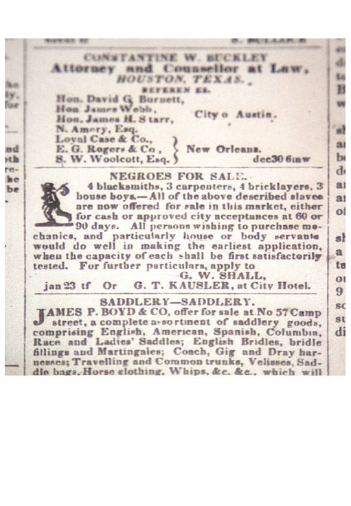 "Advertisement announcing ""Negroes for Sale"" and listing their trades in  The Daily Picayune , February 5, 1840. Louisiana Division/City Archives, New Orleans Public Library."