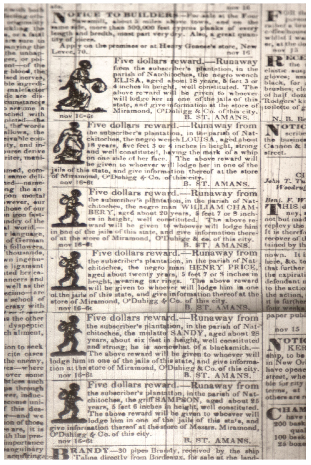 Advertisements offering rewards for the recapture of runaway slaves in the  New Orleans Bee , November 16, 1833. Louisiana Division/City Archives, New Orleans Public Library.