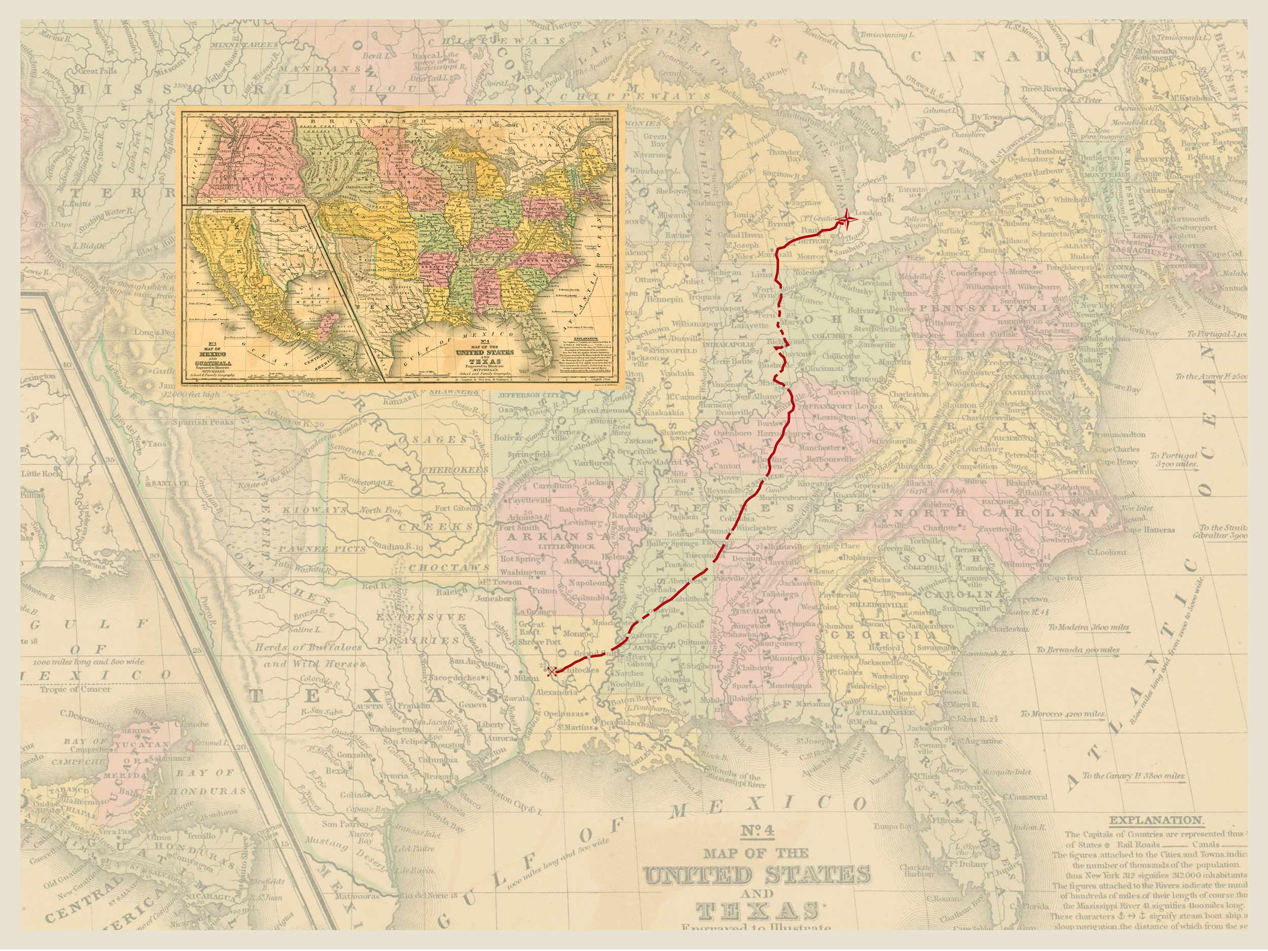 1,400 mile documented route from the project  Through Darkness to Light.  It covers seven states from Louisiana to Michigan and then on into Canada. A journey that would have taken roughly three months to complete.