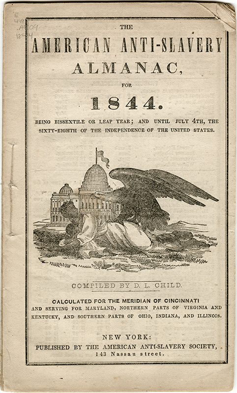 Cover of the  American Anti-Slavery Almanac , 1844. Indiana Historical Society.
