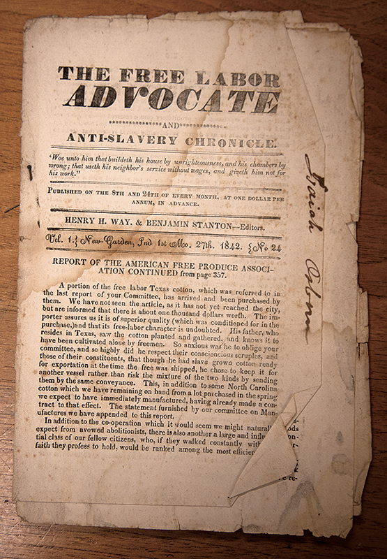 Cover of  The Free Labor Advocate and Anti-Slavery Chronicle , 1842. Friends Collection, Lilly Library, Earlham College.
