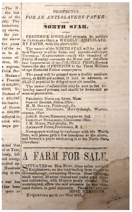 Advertisement outlining the aims of the  North Star , an anti-slavery weekly proposed by Frederick Douglass, in the  Free Labor Advocate, and Anti-Slavery Chronicle , September 30, 1847. Friends Collection, Lilly Library, Earlham College.