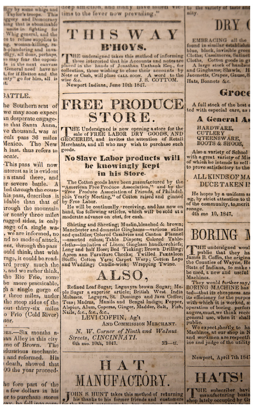 "Advertisement for Levi Coffin's store promising ""free labor dry goods and groceries"" in the  Free Labor Advocate, and Anti-Slavery Chronicle , July 1, 1847. Friends Collection, Lilly Library, Earlham College."
