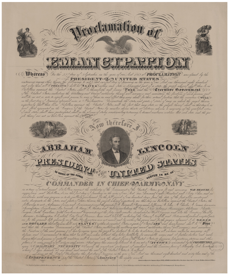 Emancipation Proclamation broadside, 1864. The Alfred Whital Stern Collection of Lincolniana, Rare Book and Special Collections Division, Library of Congress, Washington, DC.