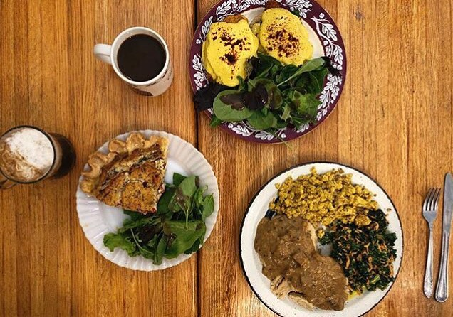 Awesome picture from this past Sunday's brunch thanks to @littlevegan! 💕Quiche, The Benny & the Breakfast Platter💕All vegan! The Benny is only available on Sunday, along with French Toast and Waffles ! . . . #vegan #cedarridgecafe #sundaybrunch #veganbrunch #veganbenedict #quiche #veganinnj #maplewood #cafe #coffee #bakery