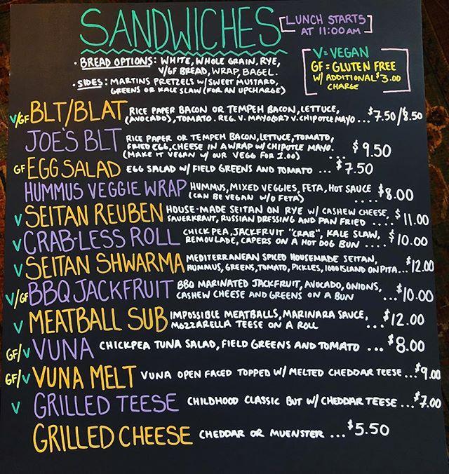 Only a couple of weeks before we go vegetarian! Here's a sneak peak at our new sandwich menu! Website coming soon, too! . . . #vegetarian #vegan #cedarridgecafe #veganfood #maplewood #cafe #bakery