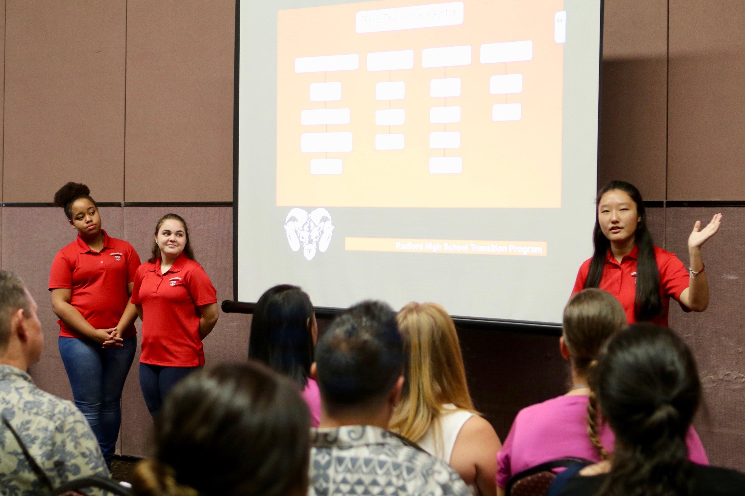 Student ambassadors from Radford High School present their transition center program