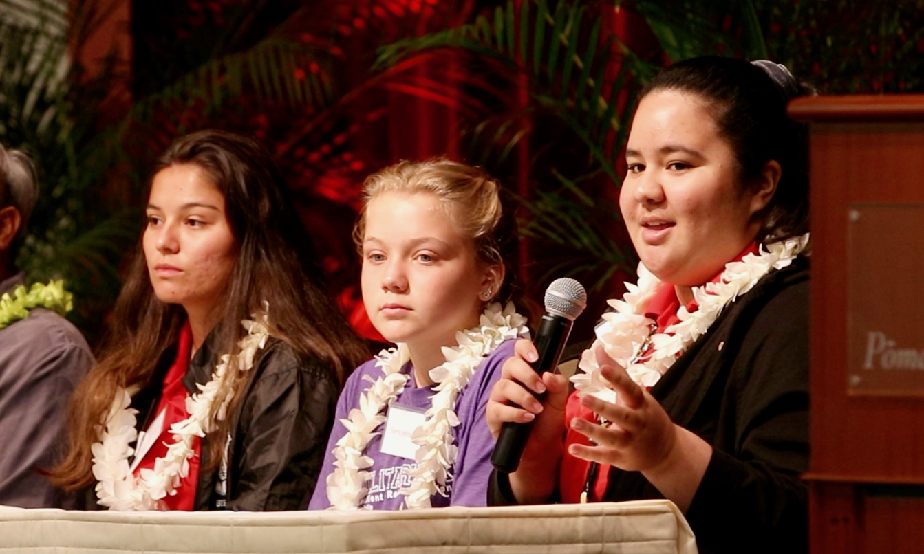 Last year's presenters from Pearl Harbor Kai Elementary School, Leilehua High School, and Radford High School participate in a Panel.