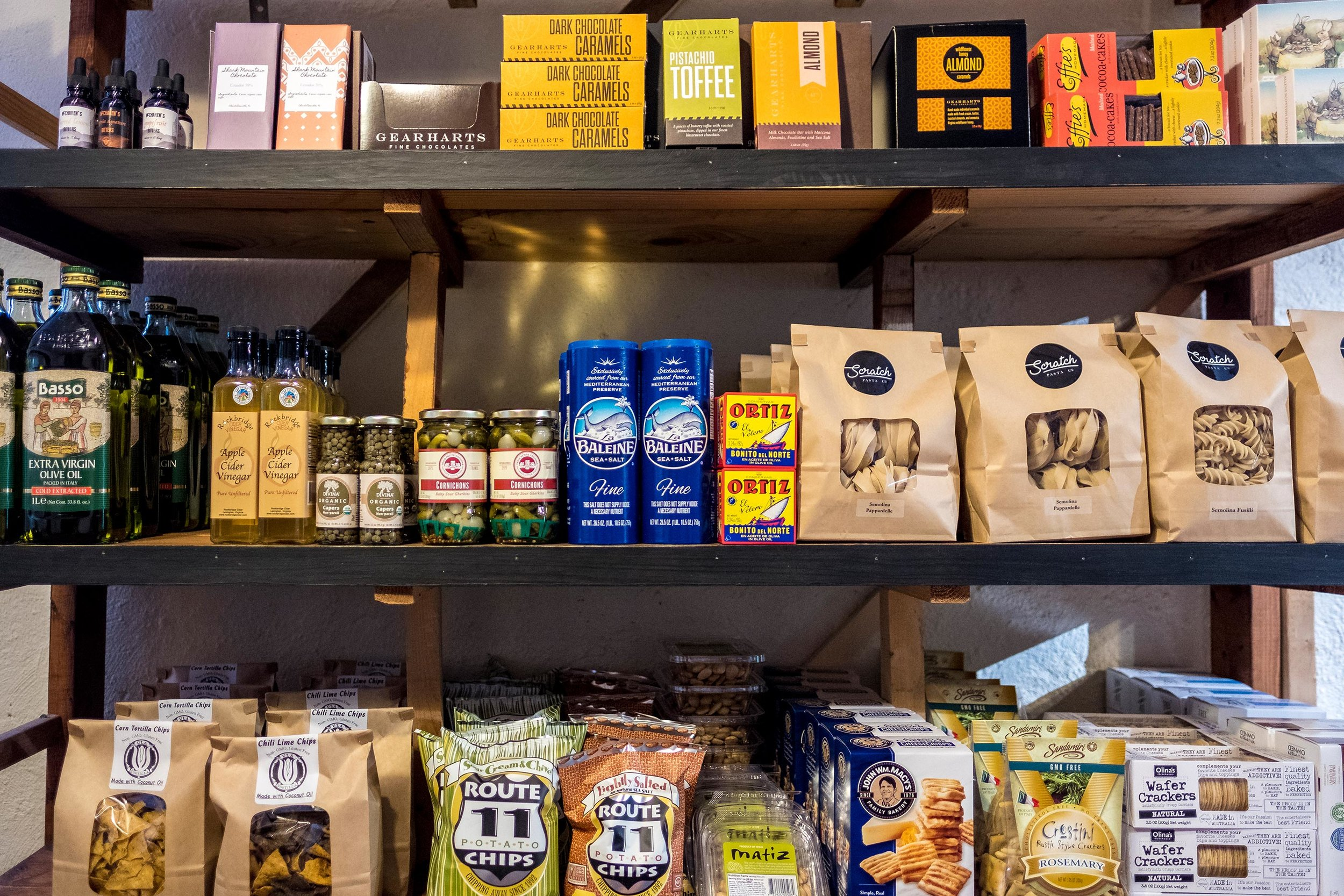 Gourmet Foods - We have a delightful little selection of local and international foods perfect for gift baskets, simple meals and snack boards to pair with your wine or beer choices.