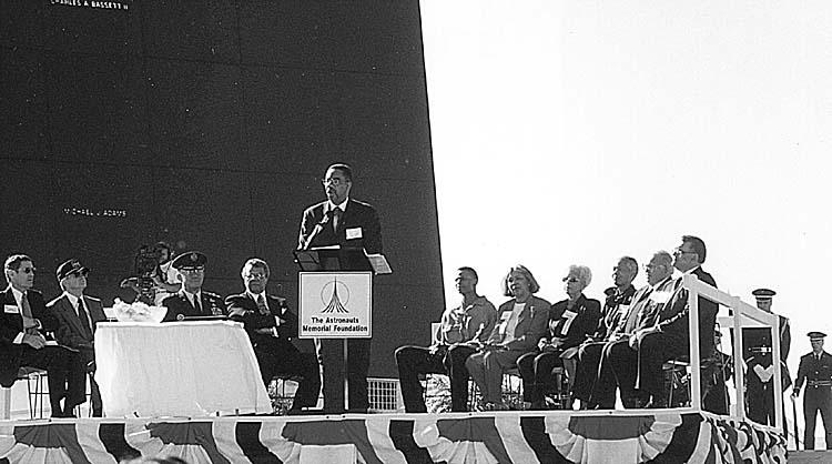 Congressman Bobby L. Rush speaks during the ceremony honoring Air Force Maj. Robert H. Lawrence Jr. Lawrence. Dec. 8, 1997