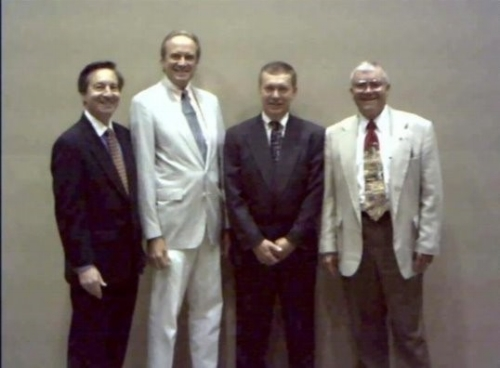L to R; AMF President Stephen Feldman, Ph.D., 2002 Alan Shepard Technology in Education Award winners Thomas F. Hunt and Frank E. Waller, and Apollo 13 Astronaut Fred Haise