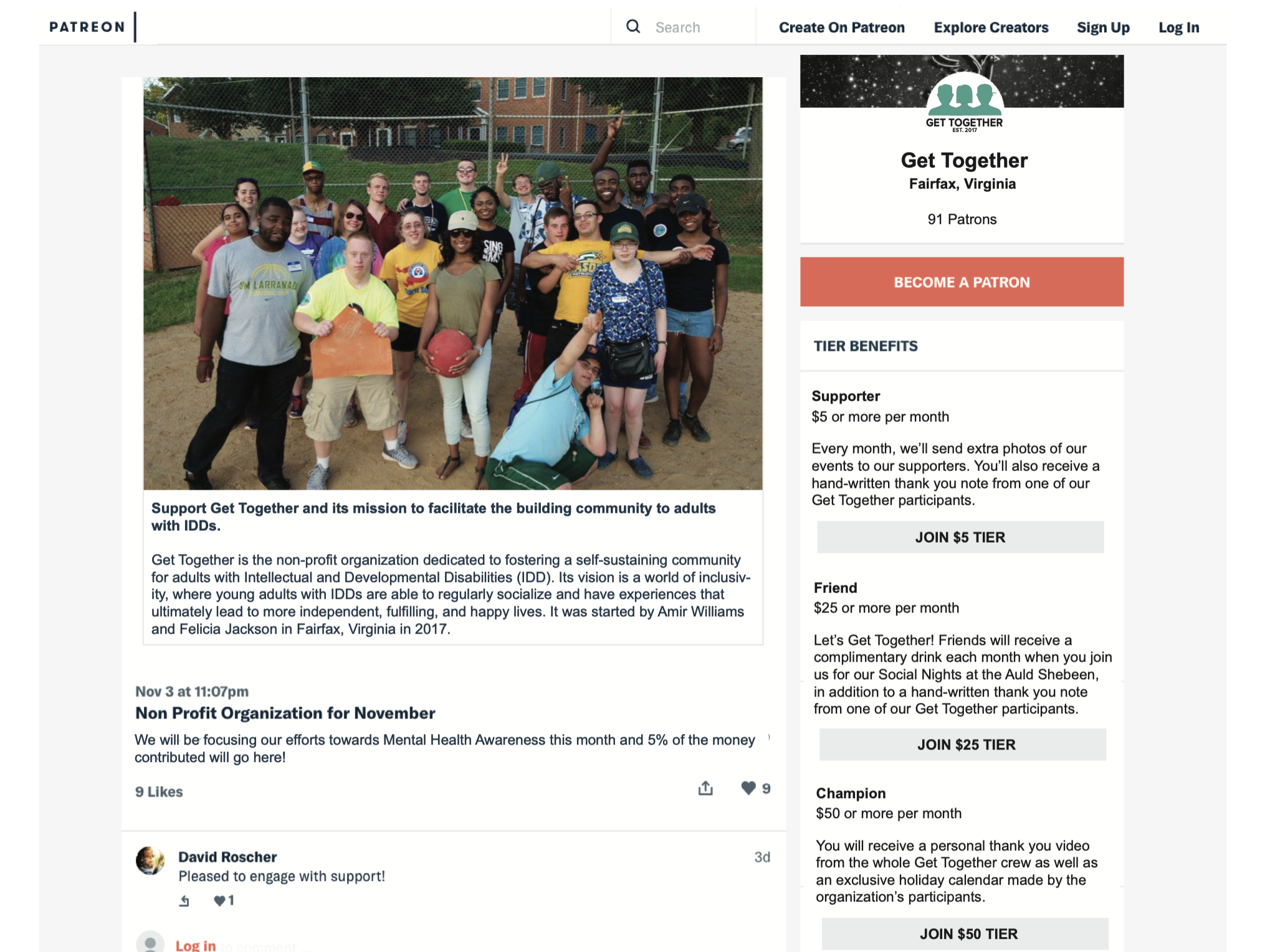 Creating a Patreon page was one of our recommendations to Out'N'About for soliciting regular donations as a way to move away from time consuming fundraising events which is currently their main source of income.