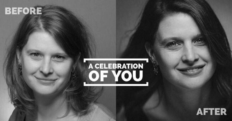 A Celebration of You - Een persoonlijke shoot in een relaxte setting zonder visagie of hairstyling, maar wel met het effect van een make-over!- fotoshoot: 40 min.- twee foto,s ( 15 x 20 cm in zwart-wit)