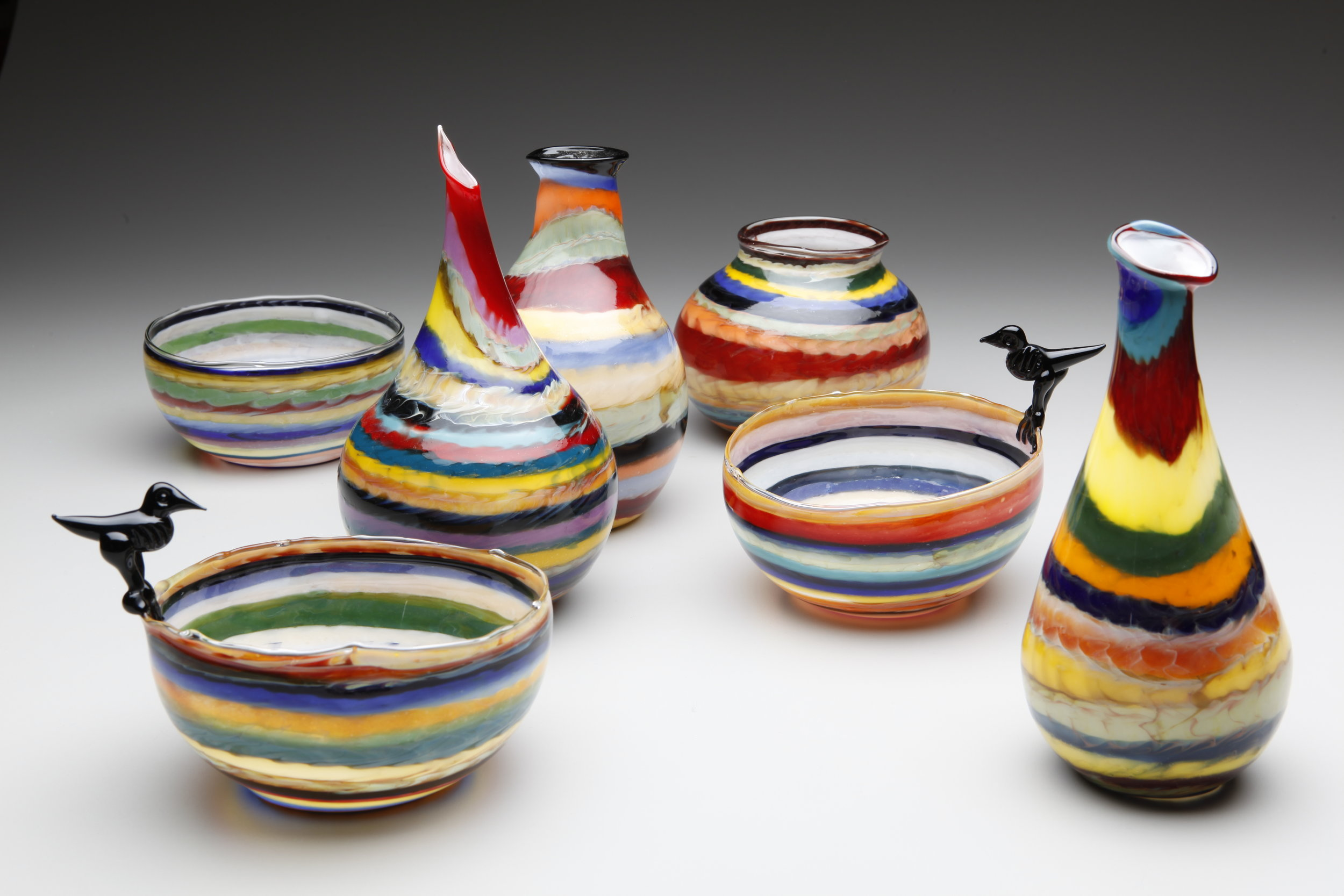 Bird Bowls and Gourd Vases