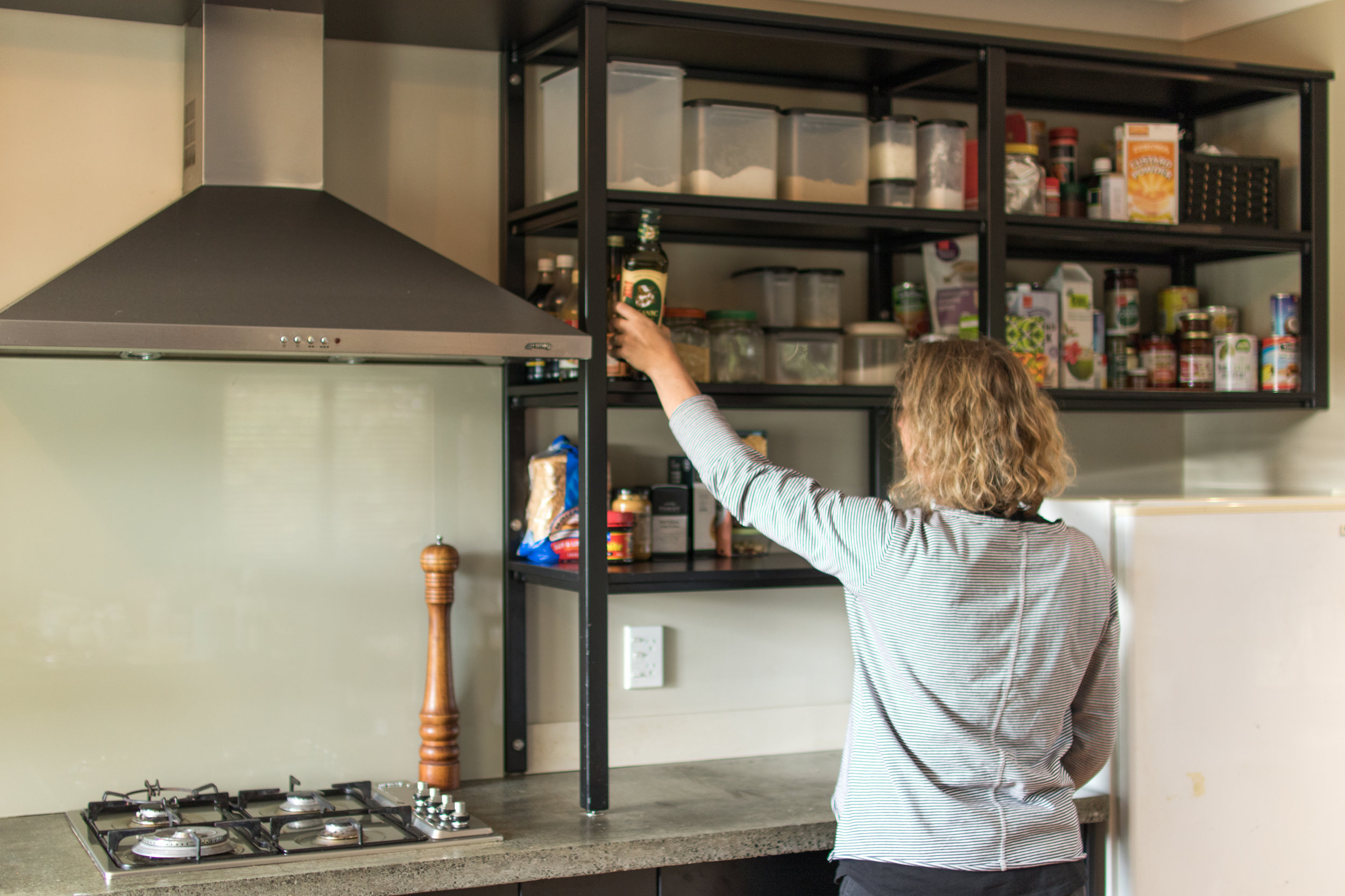 Kitchen Shelving - Clean storage for the kitchen.