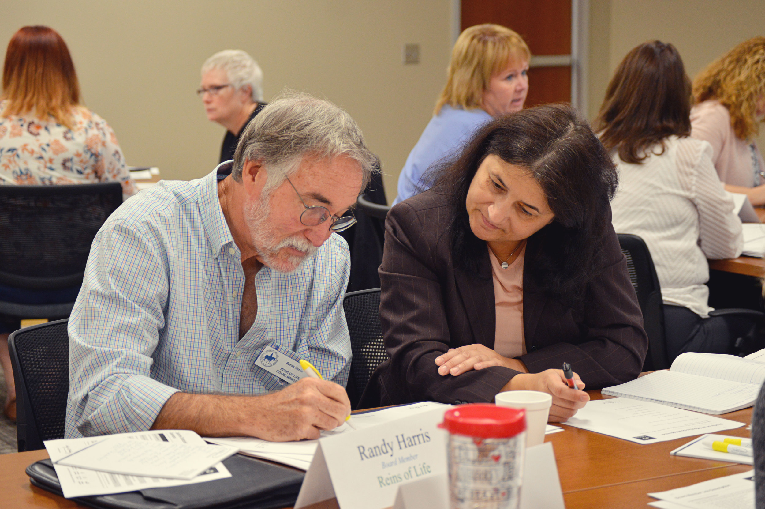 Randy, Reins of Life Board Member, and Dorota, Executive Director of Reins of Life, at the Board Series Workshop