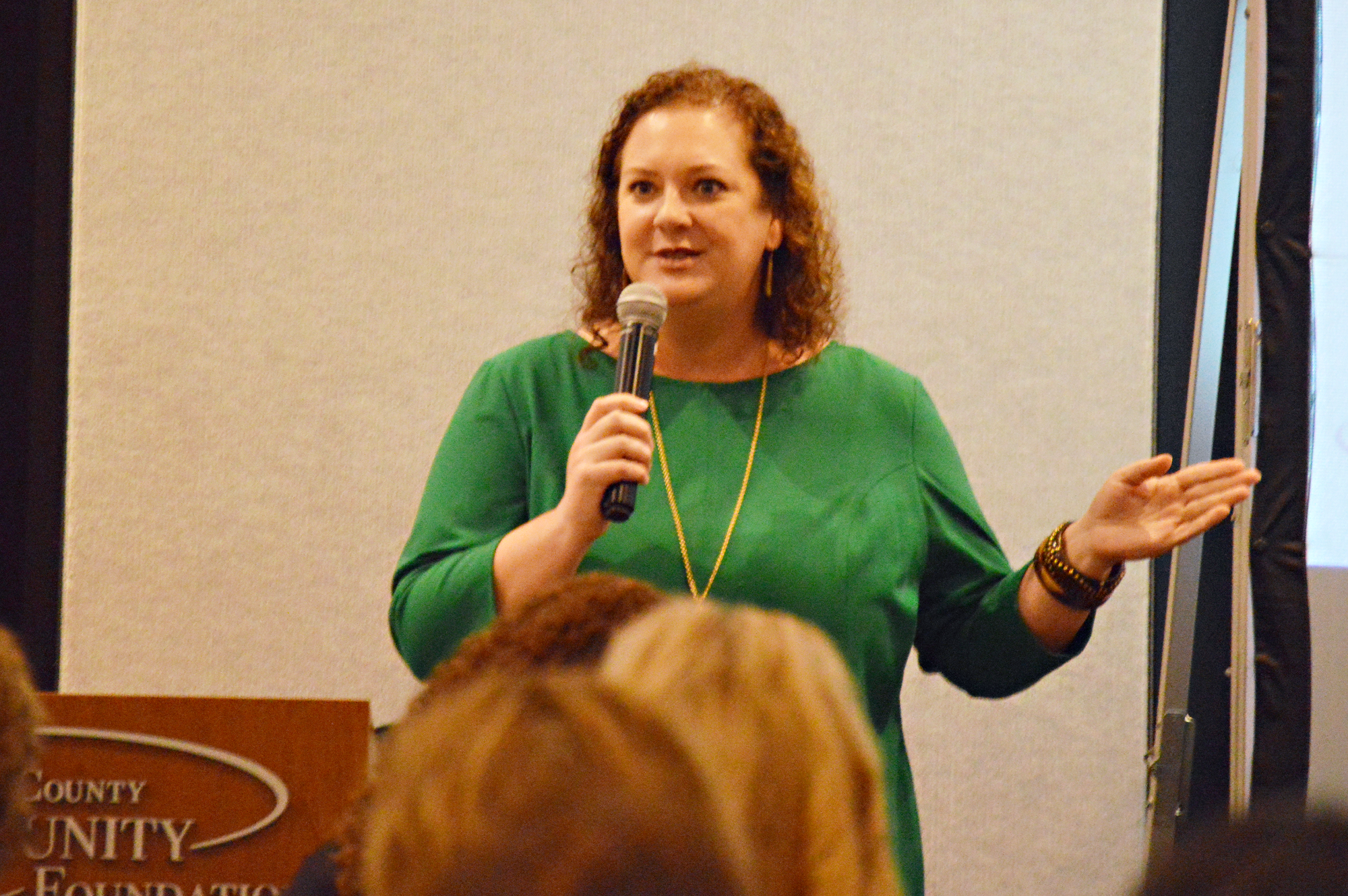 Sarah Harmeyer, Chief People Gatherer at Neighbor's Table, was the guest speaker at the 18th Annual Women's Tea to support the Women's Fund of Porter County.