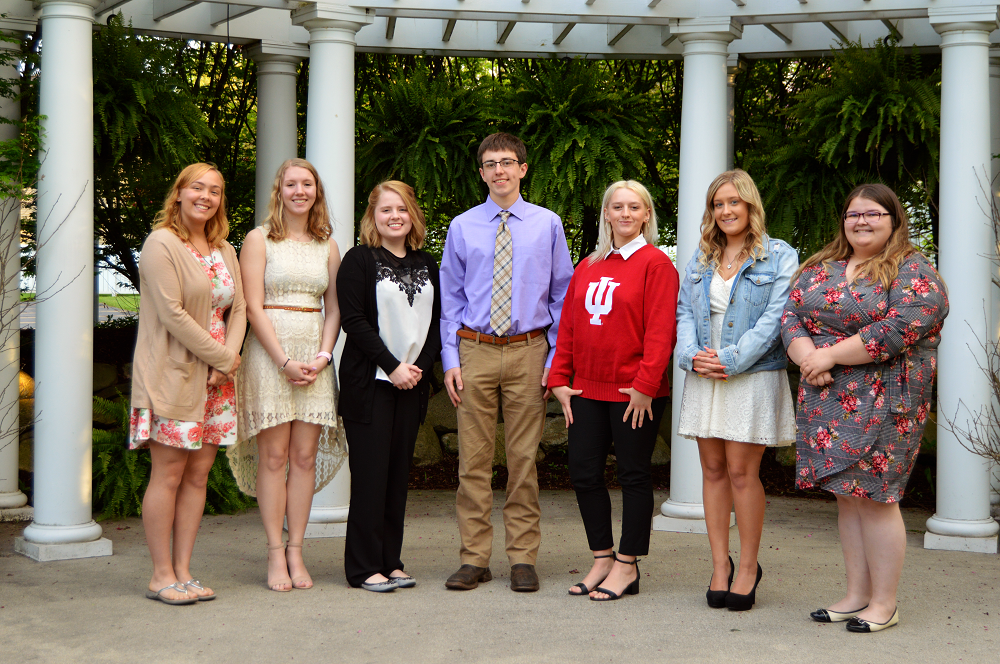 "Porter County Career and Technical Center Scholars (left to right) Abbigail Stram, Haley Jackson, Lauren Yates, Thomas ""Jay"" Edwards, Alicia Kleckner, Roury Farnum, and Lauren Drang."