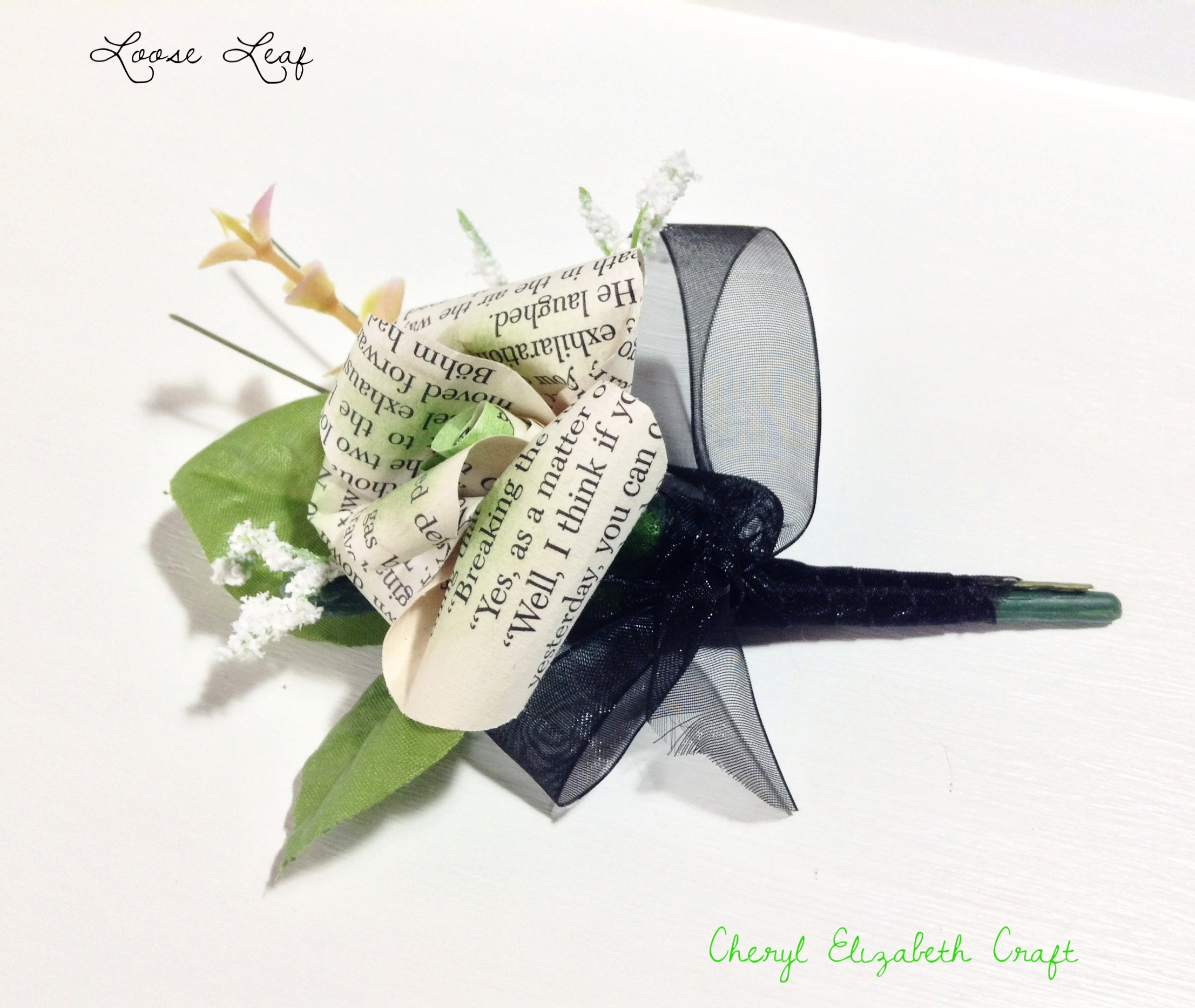 Book leaf boutonniere. Black & Lime