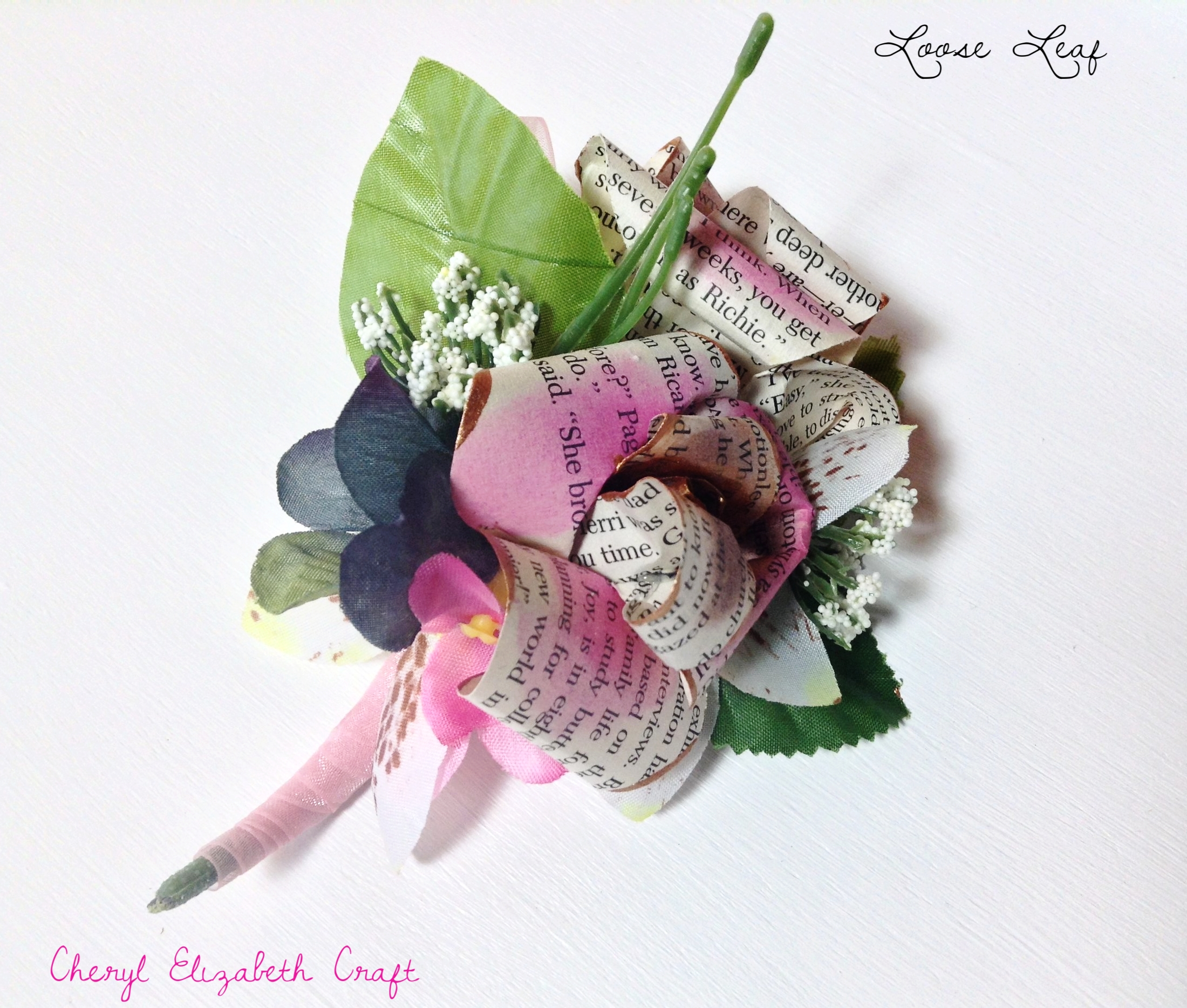 Book leaf corsage. Blush & Fuschia