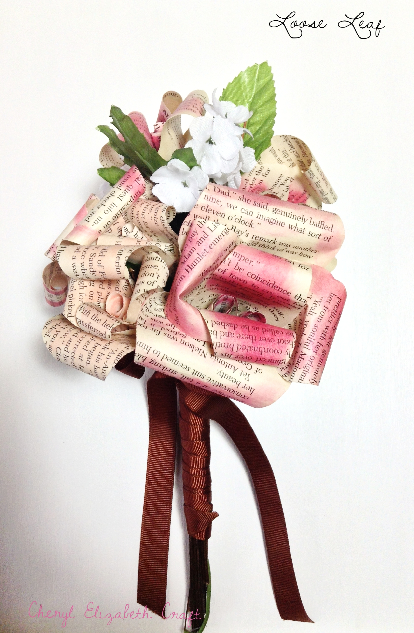 Book leaf bouquet small. Milk Chocolate & Fuschia