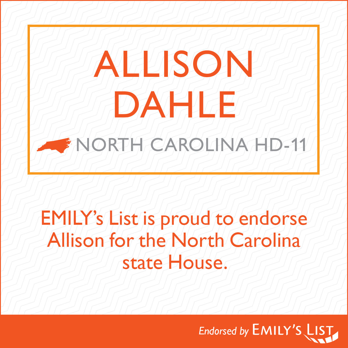 """In her extensive career fighting for people with disabilities and working for women's rights, Allison Dahle has shown a passion for protecting marginalized communities time and again,"" said Geri Prado, senior director of state and local campaigns at EMILY's List. ""We are proud to endorse Allison for the North Carolina state House."""