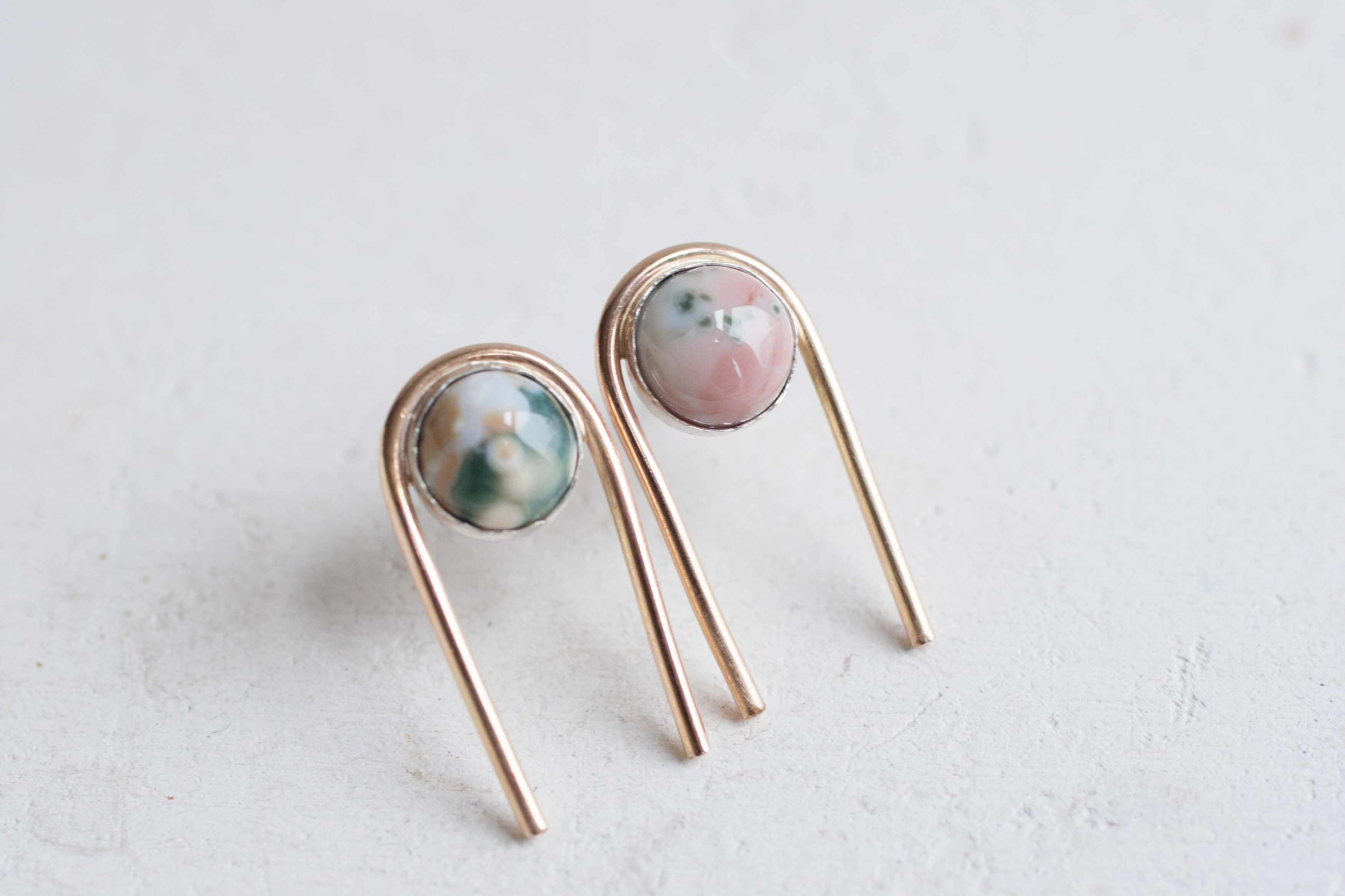 Ocean Jasper Arc Earrings
