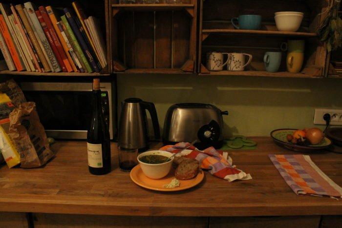 Lentil soup with pain de campagne, vegan cheese, and vegan wine, PC: Juhea Kim