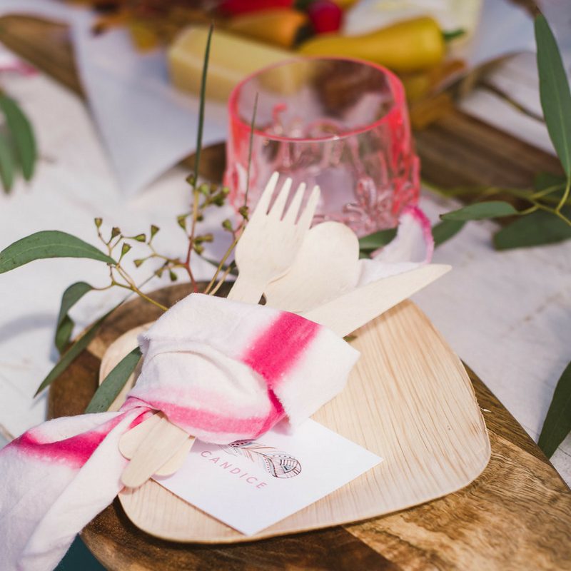 Decor & Greenery - We want your Pop Up Picnic to be an experience! That's why we've curated the tabletop decor to include custom dyed linen napkins, greenery, candles and more.