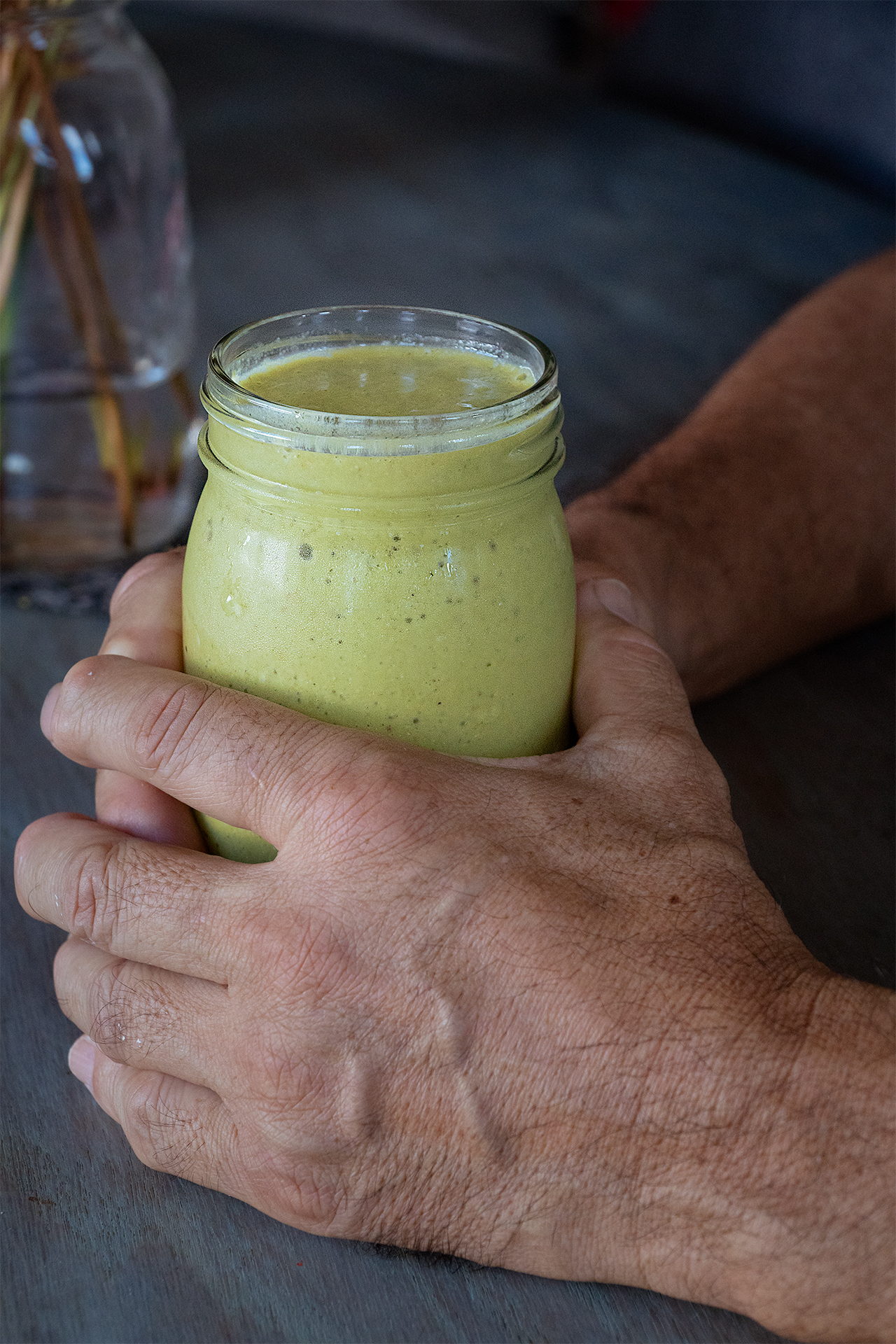 These hands make good things. This muted golden-green smoothie, for one.