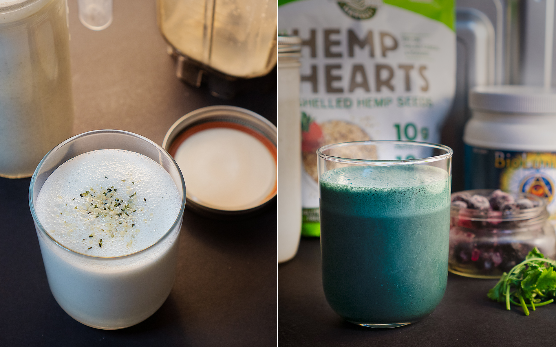 Sharing 2 recipes today: homemade hemp seed milk + a teal smoothie using hemp milk as the base.