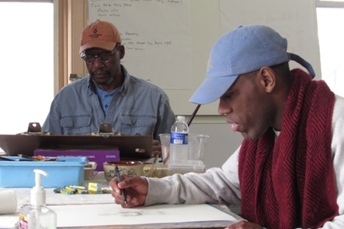 Richmond Futch, Jr. working along side Ty, a gifted illustrator and artist in transition.
