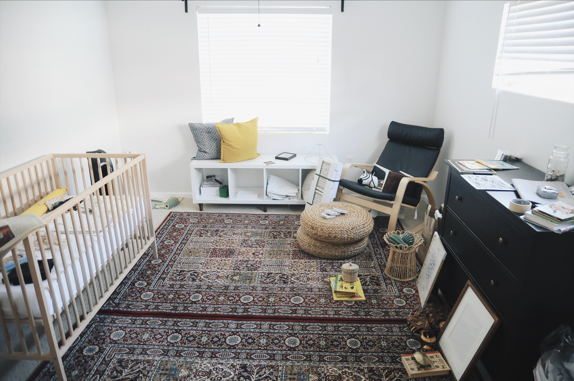 the furniture layout i finally settled on after adding the bench to the nursery.