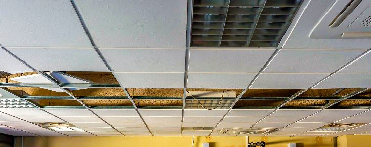 t-bar ceiling, drop ceiling, suspended ceiling installation by Custom Drywall Langley