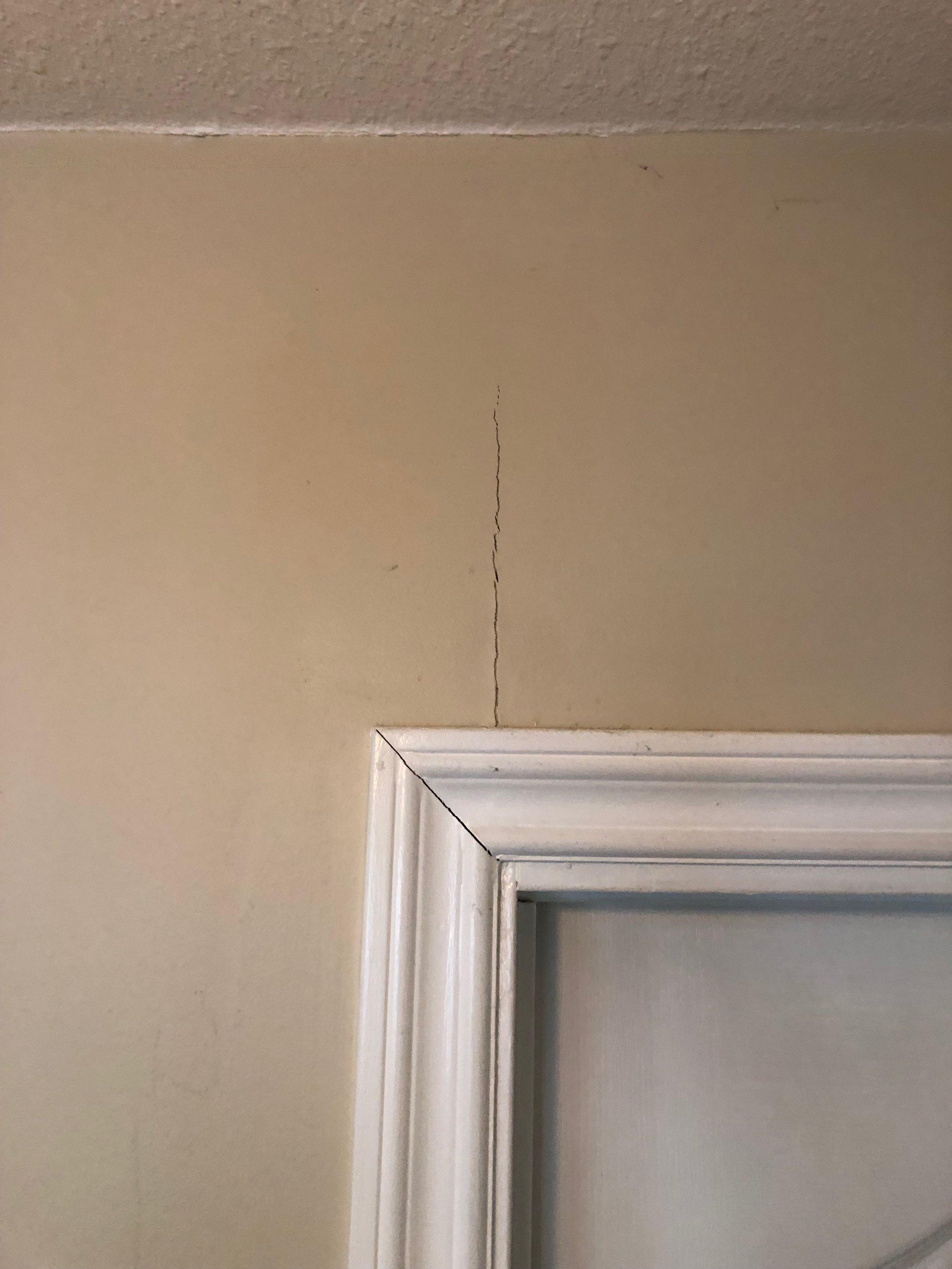 recurring drywall crack above door   Custom Drywall Repair