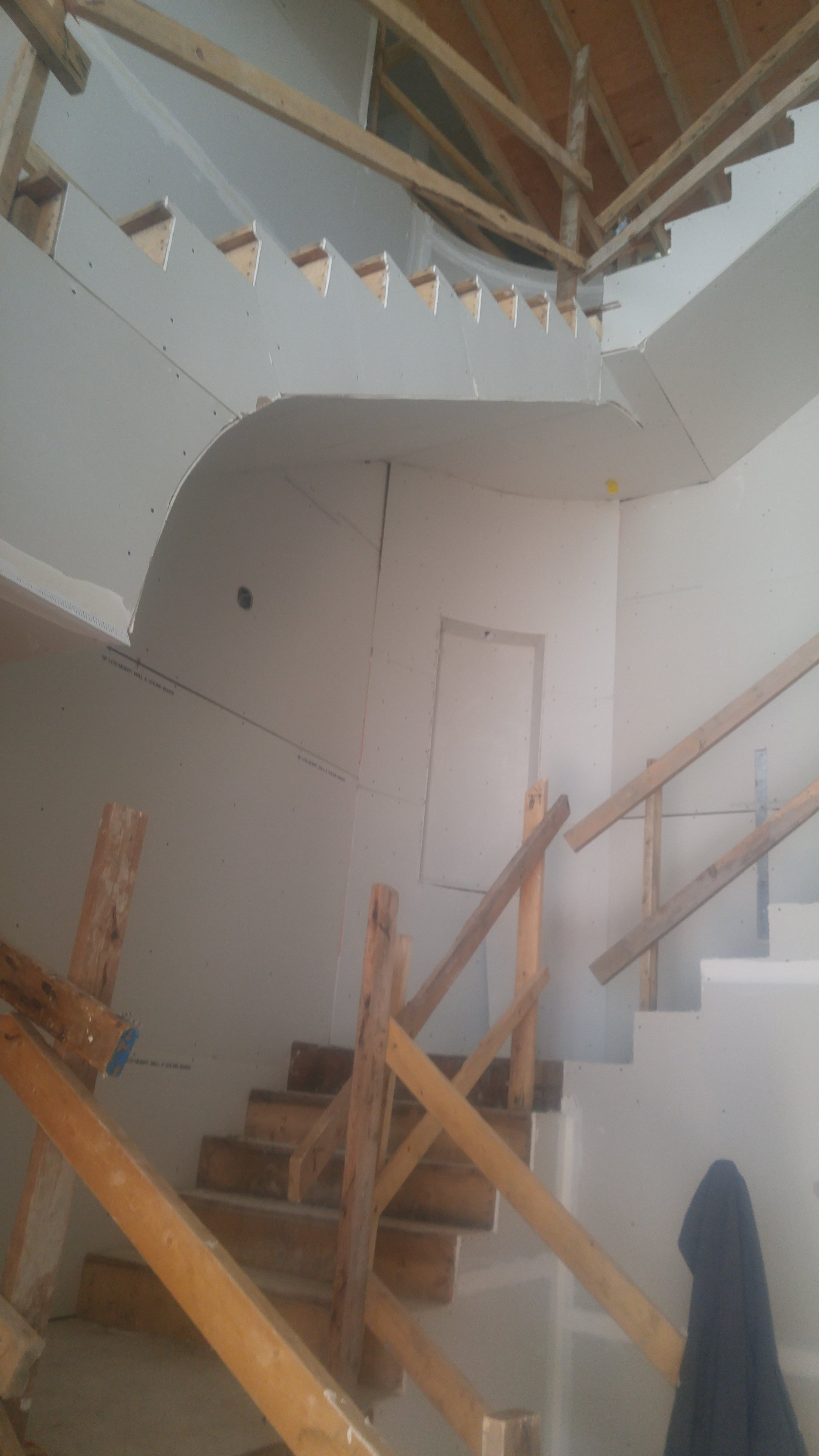 staircase residential Drywall hanging and finishing - Custom Drywall