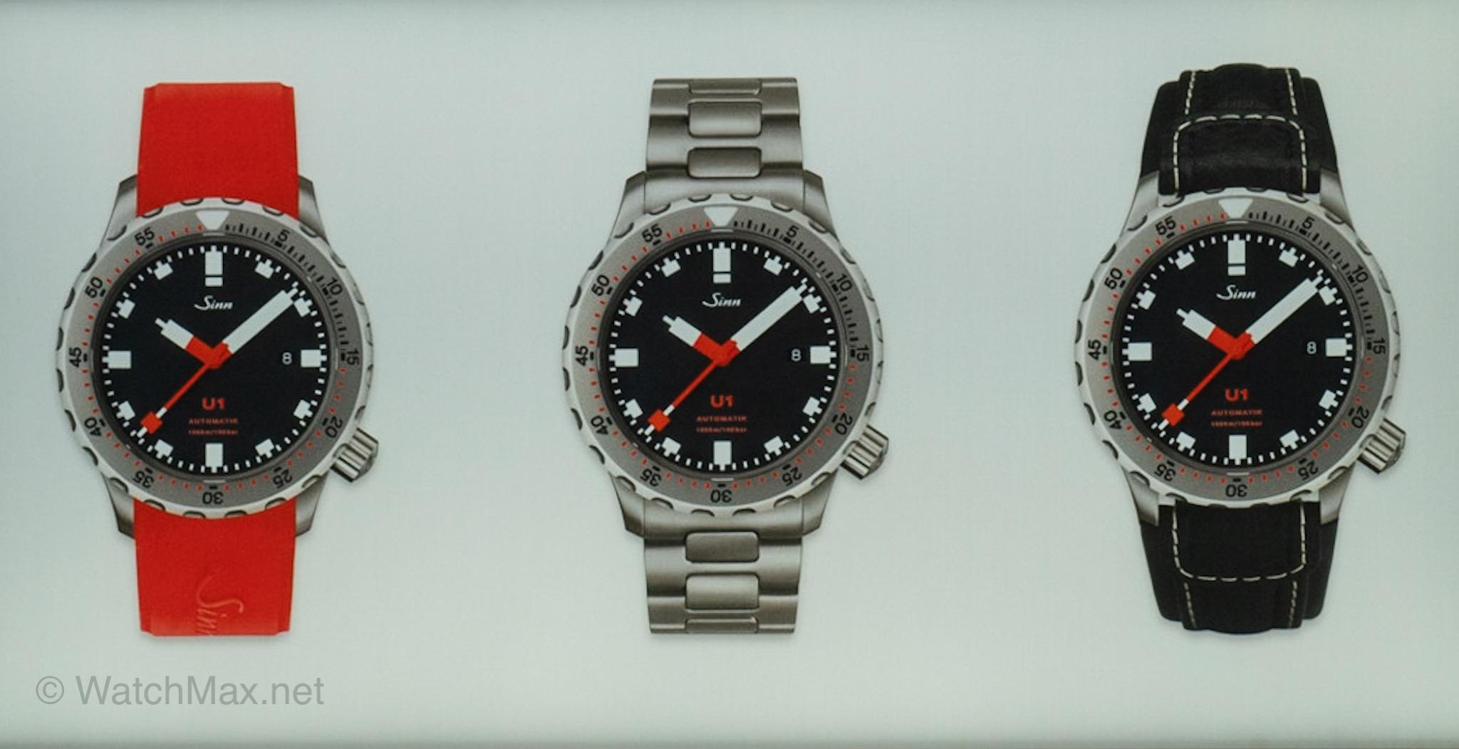 Sinn U1 with various straps / bracelet options