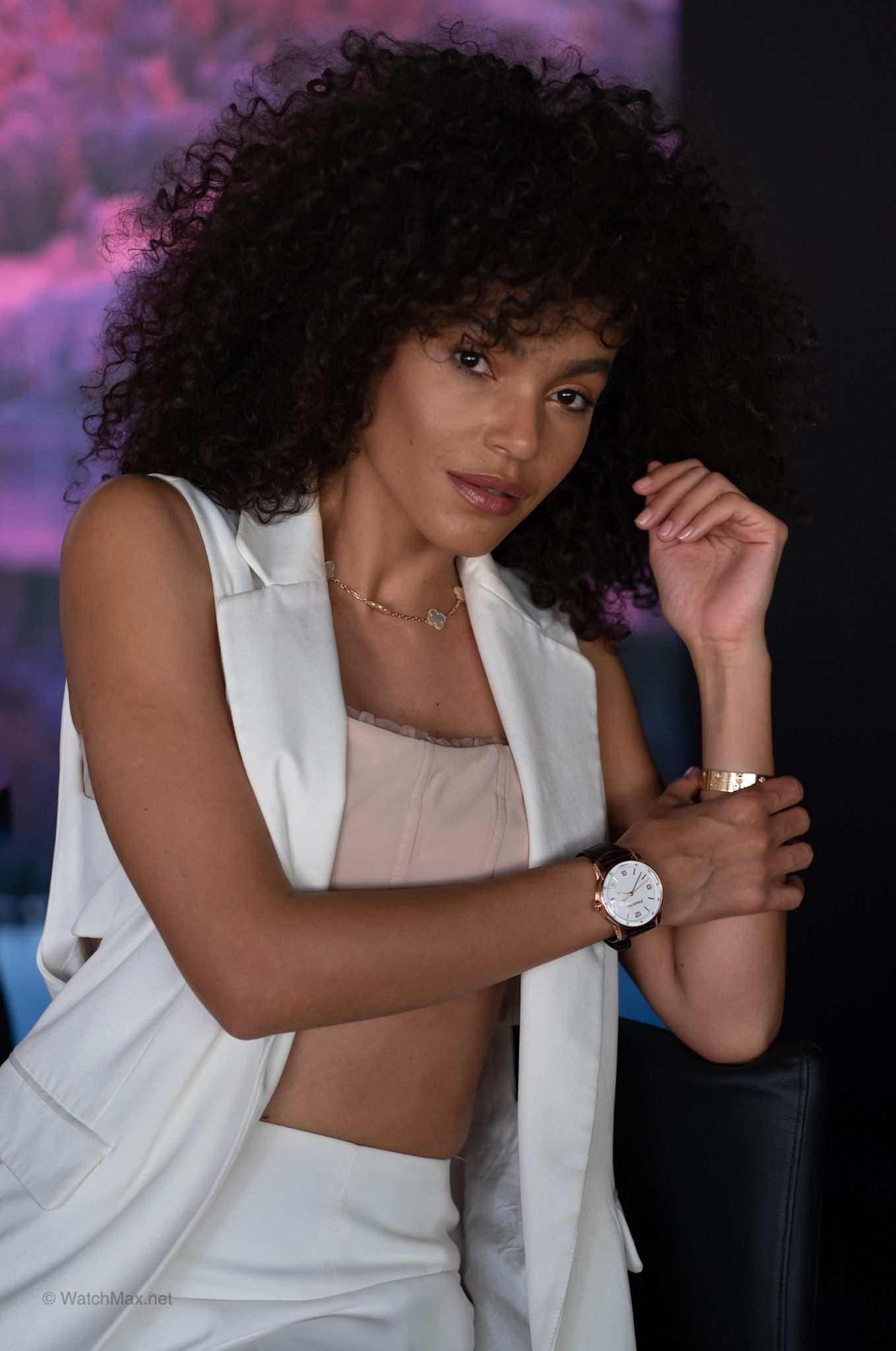 Model  Leila Depina  showing that the CODE 11.59 does indeed fit a slender's ladies wrist