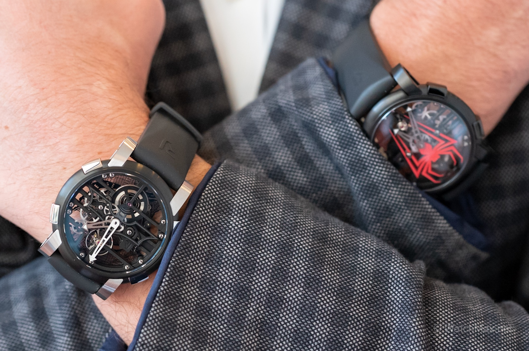RJ's previous Superheroes watches representing DC Comic's and Marvel Comic's favorites: Batman and Spiderman