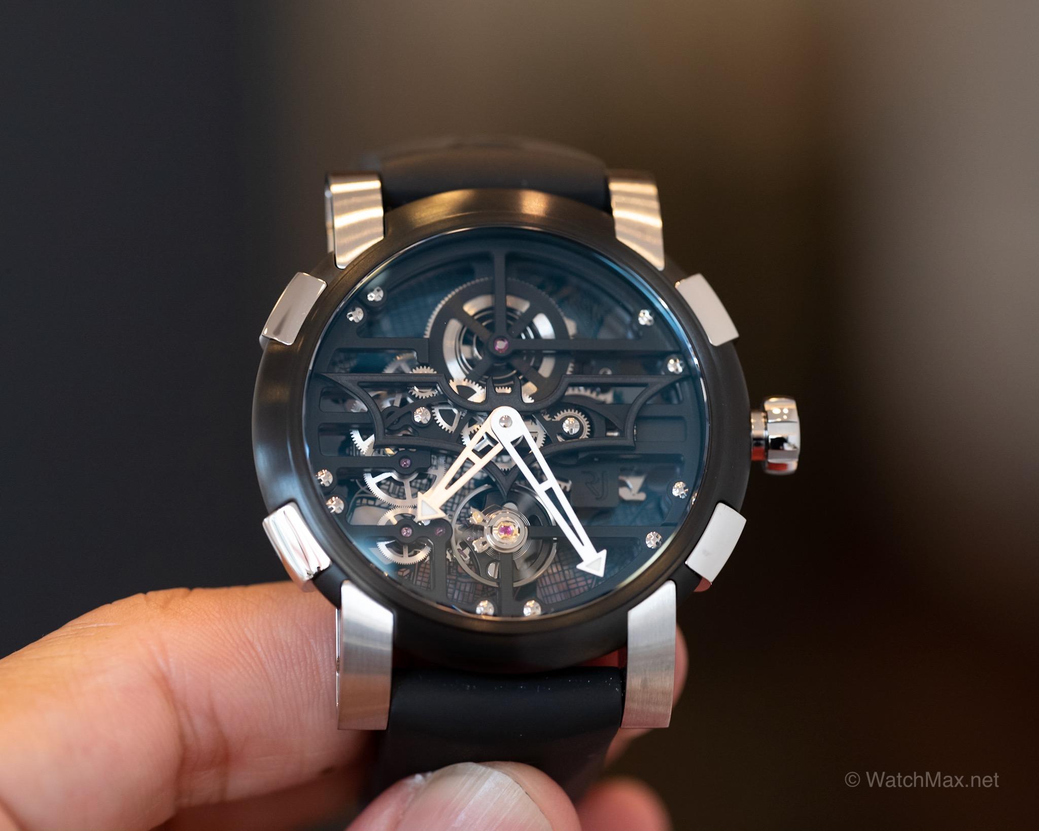 RJ's Batman 2017 watch showing the Bat logo as part of the skeleton dial