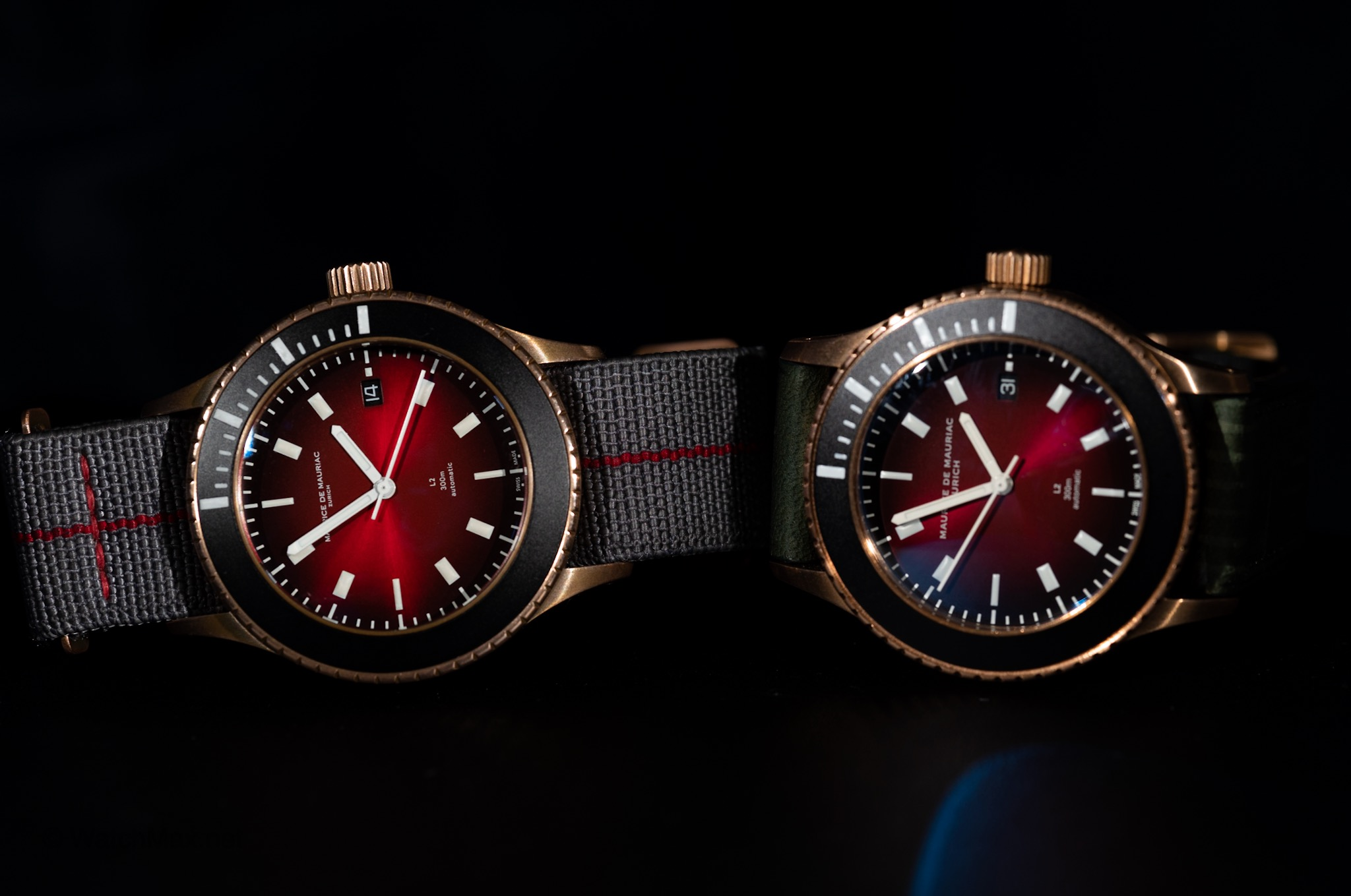 L2 Bronze Deep Red versions. New model with larger font on the right.