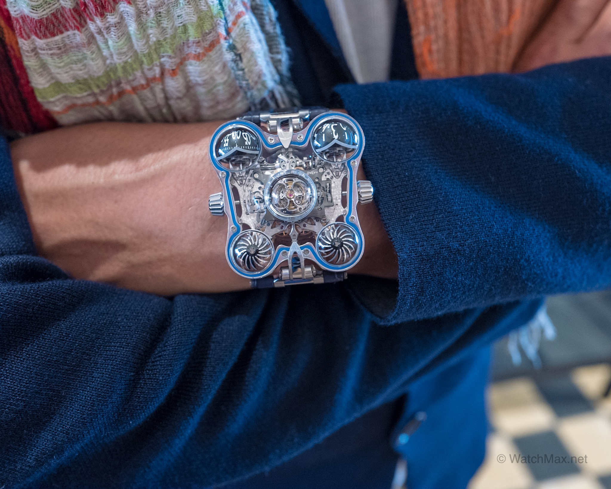 HM6 Sapphire on the wrist of a patron at Stephen Silver Fine Jewelry