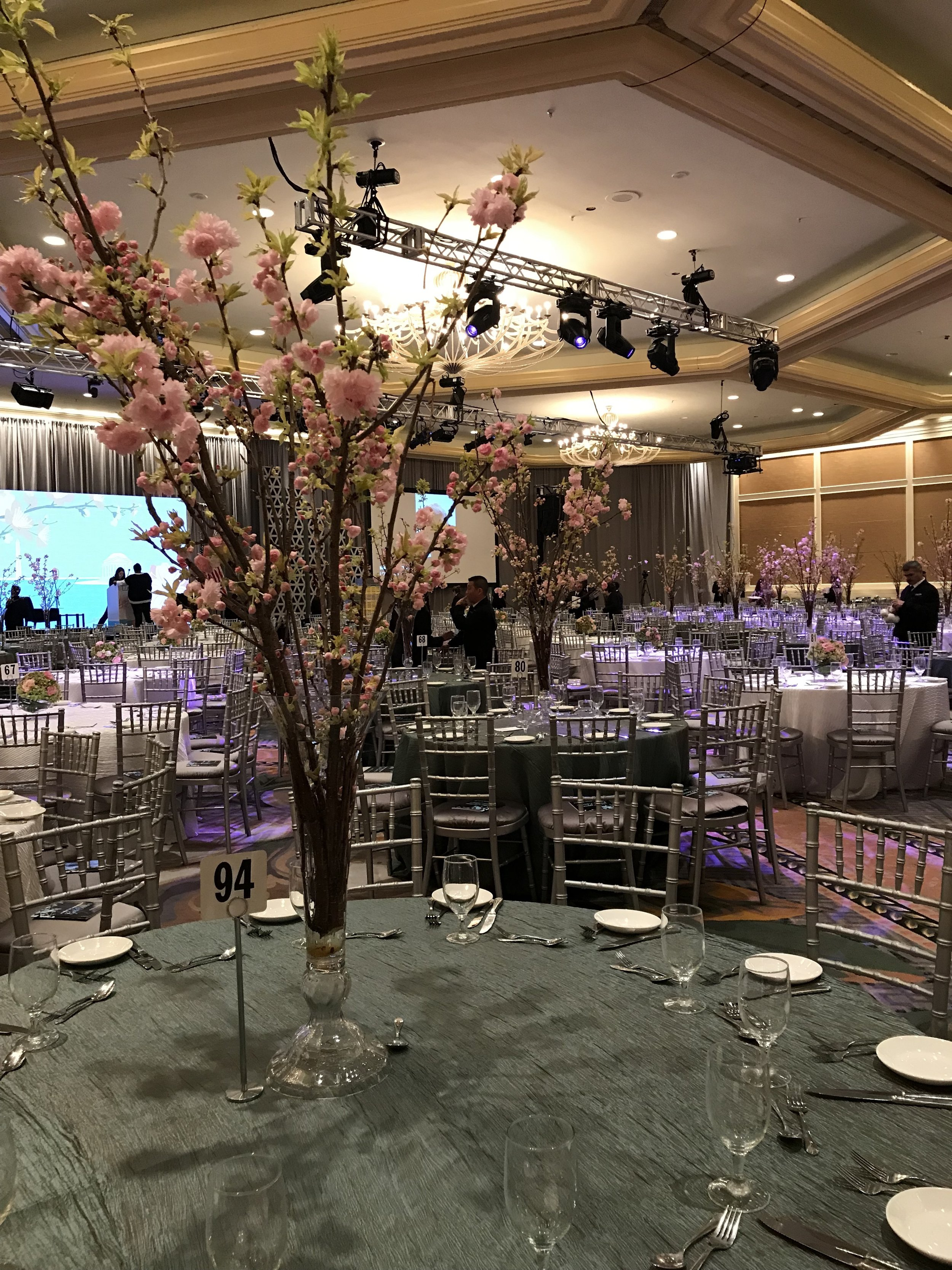Tall centerpiece of cherry Blossom