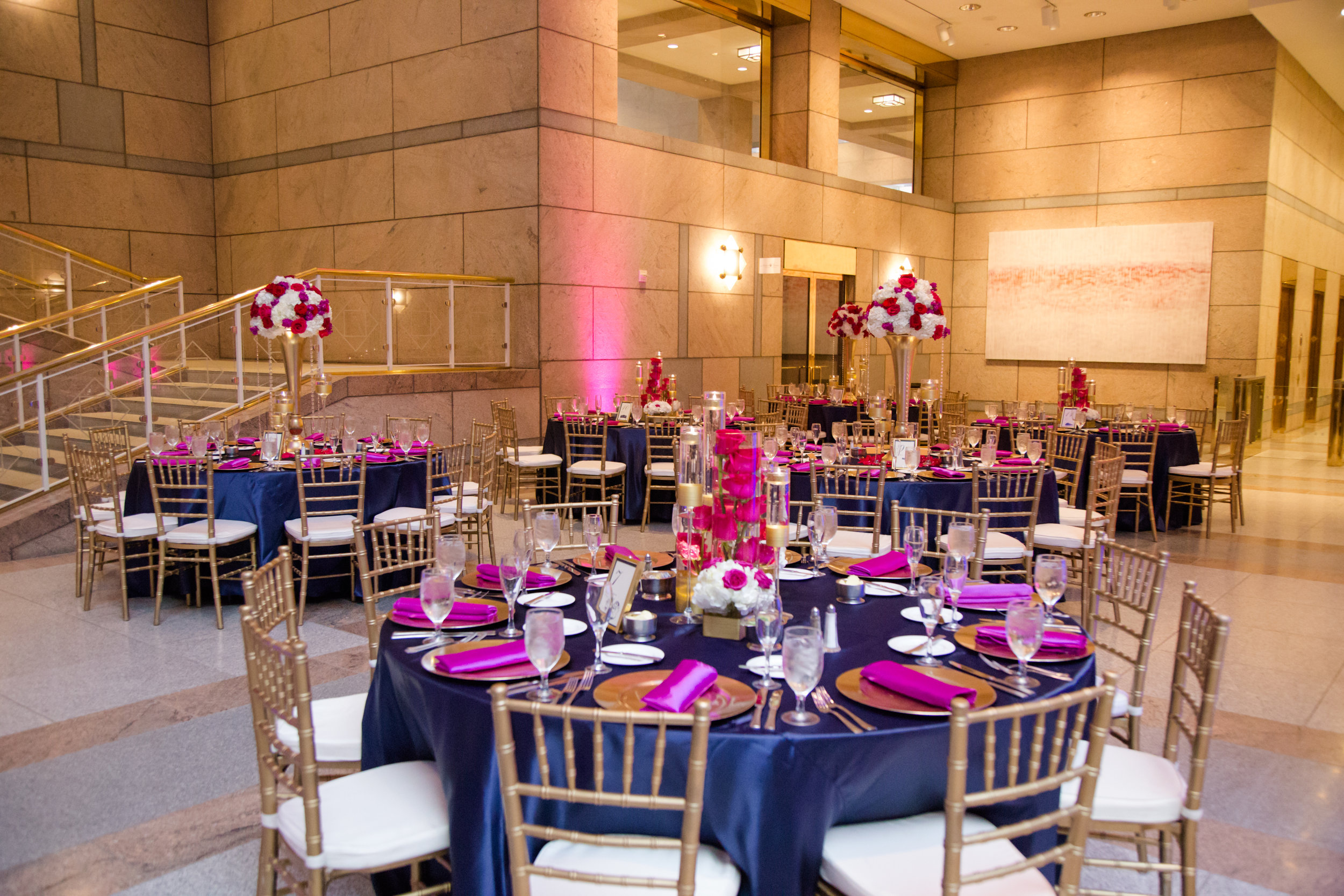 Picture by Naomi Sheress: chairs, chargers, linen and centerpieces provided by Tierra Events.