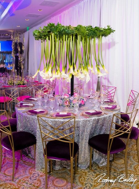 Stunning centerpiece made with cala lilies