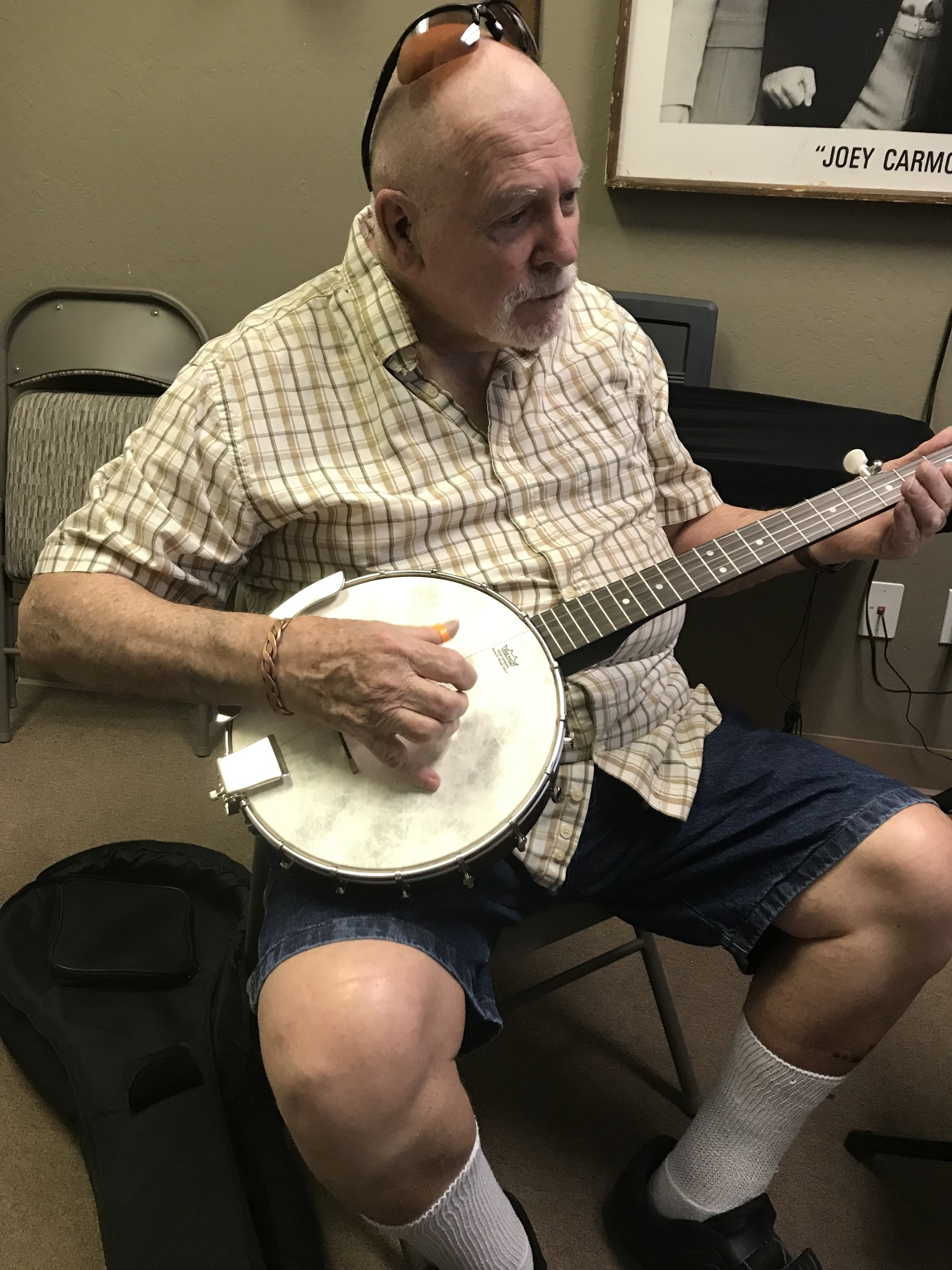 Clyde Johnson at 82 years old is still learning banjo licks!