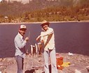 John Brock and me fishing on our off days on the road with Crossbow.