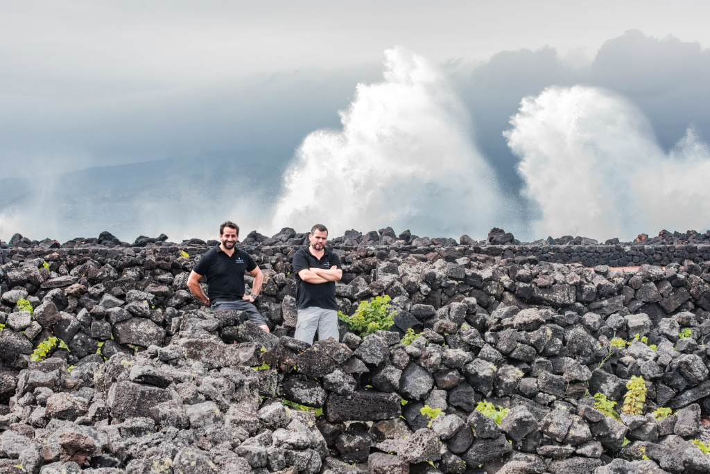 Antonio Macanita (left) on the black basalt of the Azores islands